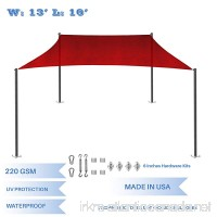 E&K Sunrise 13' x 16' Waterproof Sun Shade Sail with Stainless Steel Hardware Kit-Red Rectangle UV Block Perfect for Canopy Outdoor Garden Backyard-Customized Sizes Available - B077JG35SD