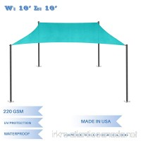 E&K Sunrise 16' x 16' Waterproof Sun Shade Sail-Turquoise Green Rectangle UV Block Durable Awning Perfect for Canopy Outdoor Garden Backyard-Customized - B077JH55RF