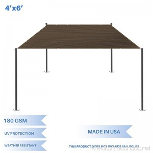 E&K Sunrise 4' x 6' Sun Shade Sail-Brown Straight Edge Rectangle UV Block Durable Awning Perfect for Canopy Outdoor Garden Backyard-180GSM-Customized Sizes Available - B0789RTQQF