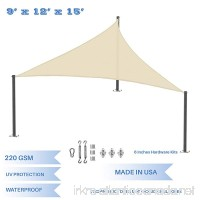 E&K Sunrise 9' x 12' x 15' Waterproof Sun Shade Sail with Stainless Steel Hardware Kit -Beige Right triangle UV Block Perfect for Canopy Outdoor Garden Backyard-Customized Sizes Available - B077JGRXYZ