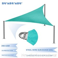 E&K Sunrise Reinforcement Large Sun Shade Sail 24' x 24' x 24' Equilateral triangle Heavy Duty Strengthen Durable Outdoor Garden Canopy UV Block Fabric (260GSM)- 7 Year Warranty - Turquoise Green - B079Q23N3M