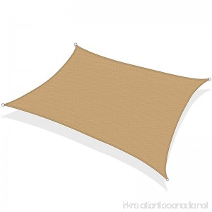 KHOMO GEAR Rectangular Sun Shade Sail 12 x 16 Ft UV Block Fabric - Beige - Tan - B071YZ3FCF