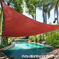 Ollieroo Shade Sail UV Block Fabric Patio Outdoor Canopy Sun Shelter with 5ft PE Ropes and Steel D-rings 16.5x16.5x16.5ft Triangle Red - B01BEVGN1S