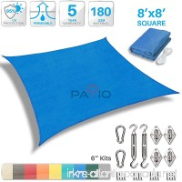 Patio Paradise 8' x 8' Sun Shade Sail with 6 inch Hardware Kit  Blue Square Patio Canopy Durable Shade Fabric Outdoor UV Shelter Cover - 3 Year Warranty - Custom Size Available - B06XDDTBLY