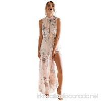 Paymenow Women Floral High Neck Sleeveless Summer Dress Elegant Party Holiday Beach Bowknot Backless Maxi Dress - B07B2CXNJG