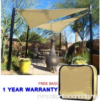 Quictent 18 x 18 x 18 ft 185G HDPE Triangle Sun Sail Shade Canopy UV Block Top Outdoor Cover Patio Garden Sand + Free Carry Bag - B01EOMB0EE