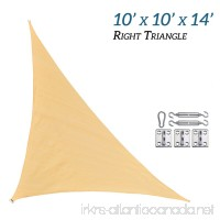 RainLeaf 10' x 10' x 14' Right Triangle Sun Shade Sail for Outdoor and Patio with Hardware Kit  2nd Generation  Desert Sand - B019GKV300