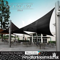 Royal Shade 24' x 24' x 24' Black Triangle Sun Shade Sail Canopy Outdoor Patio Fabric Shelter Cloth Screen Awning - 95% UV Protection  200 GSM  Heavy Duty  5 Years Warranty  Custom - B07DCK7ZW1