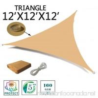 SUNNY GUARD 12' x 12' x 12' Sand Triangle Waterproof Sun Shade Sail UV Block for Outdoor Patio Garden - B075ZLX57F