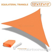 Sunshades Depot 12'x12'x12' Equilateral Triangle Waterproof Knitted Shade Sail Curved Edge Orange 220 GSM UV Block Shade Fabric Pergola Carport Awning Canopy Replacement Awning - B01NAUB4W5