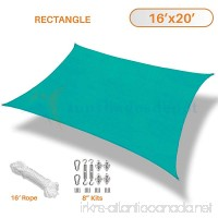 Sunshades Depot 16' x 20' Turquoise Green Sun Shade Sail 180 GSM with 8 Inch Hardware Kit - Rectangle UV Block Durable Fabric Outdoor Canopy - Custom Size Available - B071H88ZL4