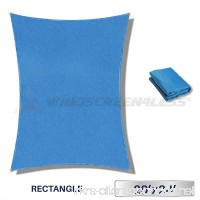 Windscreen4less A-Ring Reinforcement Large Sun Shade Sail 20' x 24' Rectangle Super Heavy Duty Strengthen Durable(220GSM)-Galvanized Cable Enhanced-Blue/5 Year Warranty - B01FIVHN1O