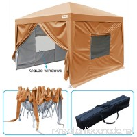 Quictent 2018 Upgraded 8x8 EZ Pop Up Canopy Tent Instant Folding Party Tent with Sidewalls and Mesh Windows 100% Waterproof -9 Colors (Sandy Brown) - B071VDX1GJ
