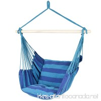Best ChoiceProducts Hammock Hanging Rope Chair Porch Swing Seat Patio Camping Portable Blue Stripe - B010NNEVVM