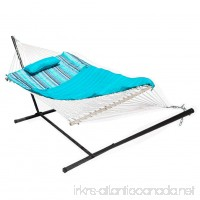 Lazy Daze Hammocks 12 Feet Steel Hammock Stand with Cotton Rope Hammock Combo Quilted Polyester Hammock Pad and Pillow Blue Ocean Stripe - B07DW96XT5