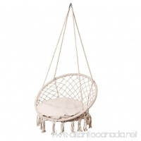 Lazy Daze Hammocks Handwoven Cotton Rope Hammock Chair Macrame Swing with Cushion and Wall/Ceiling Mount 300 Pounds Capacity for Indoor Garden Patio Yard (Natural) - B078YS3S7C
