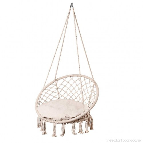 Hi Suyi Large Hanging Rope Hammock Lounger Chair Macrame Porch Swing for Indoor Outdoor Home Bedroom Patio Deck Yard Garden,Include Hooks No Ceiling Mount Set