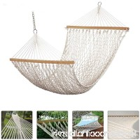 New Double 2 Person Universal Hammock Swing Bed Cotton Solid Wood Spreader Yard Garden Hanging - Great for Outdoors  Patio  Backyard [Beige/White] - B06W575CSV