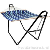 Sunnydaze Quilted Double Fabric 2-Person Hammock with Multi-Use Universal Steel Stand  Catalina Beach  440 Pound Capacity - B01DTKC1NG