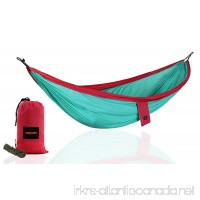 TOP GRIT Stylish Portable Camping Hammock for Travel Hiking   Green & Red - B07D8T81KF
