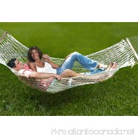 Unvert Extra Heavy Duty Cotton Hammock Double Person Solid Wood Spreader Outdoor W/hook (Cotton- White  HD 2-Person 500L - B014OAXW7O