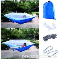 YaeTact Outdoor Hammock Nylon and Free Tree Straps Set With Mosquito Net- Double Hammock is suitable for Camping and Travel, Camping Outdoor Bed(Sky blue&Blue) - B01JOFGUVE