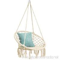 Best Choice Products Indoor/Outdoor Hanging Cotton Macrame Rope Hammock Lounge Swing Chair w/Fringe Tassels - Beige - B07BWWPN5X