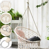 GADE10 Woven Hammock Swing Chair,260 Pounds Cotton Rope Macrame Hammock Mesh Chair Basket Swing Outdoor/Indoor/Home/Garden Reading Leisure Lounging (Hammock chair with accessories) - B07BTC34XT