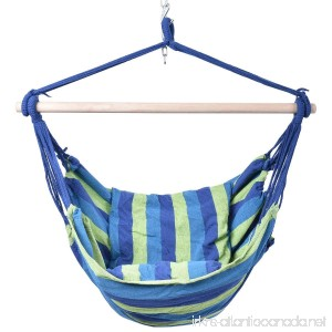 Giantex Hammock Rope Chair Patio Porch Yard Tree Hanging Air Swing Outdoor (Blue And Green) - B01J2UCTUW