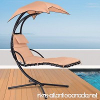 Giantex Hanging Chaise Lounger Chair Arc Stand Porch Swing Hammock Chair W/Canopy Large Weight Capacity (khaki) - B07C5KXJQ1