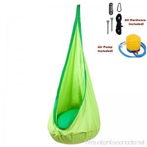 Hanging Hammock Pod Kids Swing/Outdoor and Indoor Children's Hammock Chair Nook Nest Sensory Seat Swing - All Hardware Included (Green) - B07BNVL1CC