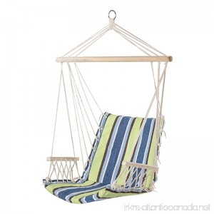 PG PRIME GARDEN Hanging Rope Chair Cotton Padded Swing Chair Hammock Seat for Indoor or Outdoor Spaces-Light Blue&Green Stripe - B01IMOBCA2