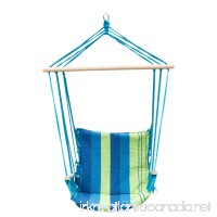 PG PRIME GARDEN Hanging Rope Chair Cotton Padded Swing Chair Hammock Seat for Indoor or Outdoor Spaces-Blue&Green Stripe - B01IMOBBMG
