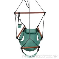 ROVSUN Hanging Hammock Air/Sky Chair Swing Rope Chair Porch Chair Hanging Seat Well-equipped High Strength Assembled with Pillow and Drink Holder for Yard Garden Patio Indoor Outdoor 250 lbs Green - B07G32CS65