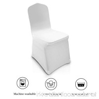 Modrine 100pcs White Chair Covers Spandex/Lycra Metal & Plastic Folding Decoration For Wedding  Banquet  Party (White Chair Cover) - B07BT7MM38