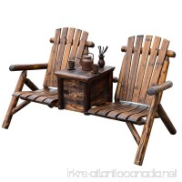 Patio 2 person Double Adirondack Wood Bench Chair Loveseat W/Ice Bucket - B07F8PP35M