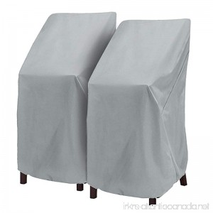Patio Chair Cover Highback Stairs Cover Bar Chair/Stool Cover Outdoor Furniture Cover Stackable Chairs Cover(L27.5 x D27.5 x H49.2 inch 2 Pack) - B074RBM4TV