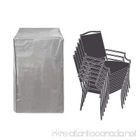 "Patio Stackable Chairs Cover Patio Chair Covers Waterproof Durable Grey 26"" L x 34"" D x 46"" H - B078XGFKFY"