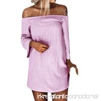 Spbamboo Women Autumn Winter Pullover Long Sleeve Striped Slash Neck Mini Dress - B07G14K939