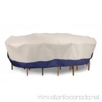Eevelle Accents Patio Rectangular Table Set Cover | Khaki/ Navy (Large) - B072N3THYY