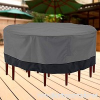 North East Harbor Outdoor Patio Furniture Table and Chairs Cover 94 Diameter Dark Grey with Black Hem - 100% Waterproof Winter Storage Cover Deck Patio Backyard Veranda Porch Table Covers - B00CS49ZVG