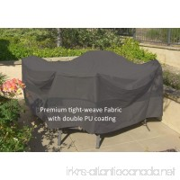 "Premium Tight Weave Fabric Patio Set Covers 96"" Dia. Fits square  oval and round Table set  Center hole for Umbrella in Grey - B01EMBVQR8"