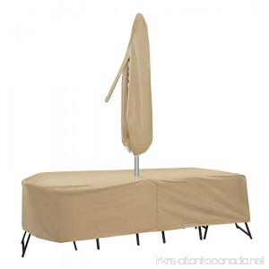 Protective Covers Weatherproof Patio Table and Chair Set Cover 60 Inch x 66 Inch Oval/Rectangle Table Tan - B00B7YLFNE