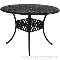 Sunnydaze Round Patio Table  Durable Cast Aluminum Construction with Crossweave Design  41-Inch Diameter - B07F3GY9FS