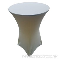 "30 Round x 42"" Height Ivory (Off White) Spandex Highboy Table Cover - B075XRXM6M"
