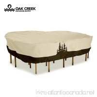 Oak Creek Premium Outdoor Furniture Cover | Patio Table Cover with Air Vents Click-Close Straps Elastic Hem Cord | Made of Heavy Duty Waterproof Fabric with PVC Coating | Pine Tree Design - B076ZYJW4F