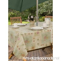 Peony Patch Flannel Backed Indoor Outdoor Vinyl Table Linens 70-Inch Round with Umbrella Hole and Zipper Sage - B0741CVSG9