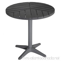Carbon Loft Wallis Silver/Slate Grey Poly Wood Round Aluminum Outdoor Bistro Table - B07F1Y743P