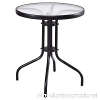 CHOOSEandBUY 24 Outdoor Patio Round Table with Tempered Glass Top Patio Round Table Vintage Dining Outdoor Porch Glass Mid Century Iron - B07DTHYZ6G