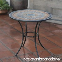 Contemporary Round Outdoor Bistro Table Mosaic Design Table Top With Steel Legs Framed With Black Finish - B01CZME4UM